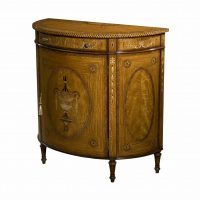 Reproduction Inlaid Bowfront Commode