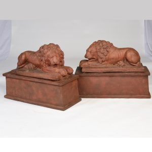 Pair of Antique Terra Cotta Lions