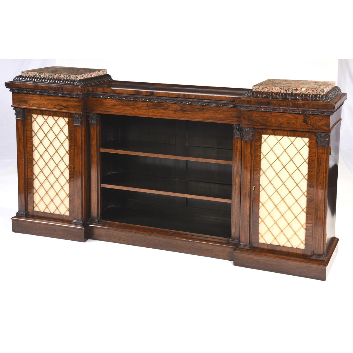 Antique English Low Bookcase