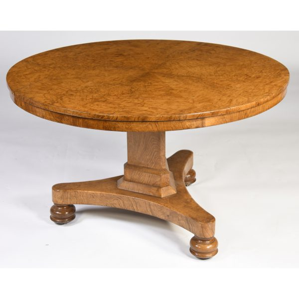Antique English Pollard Oak Center Table