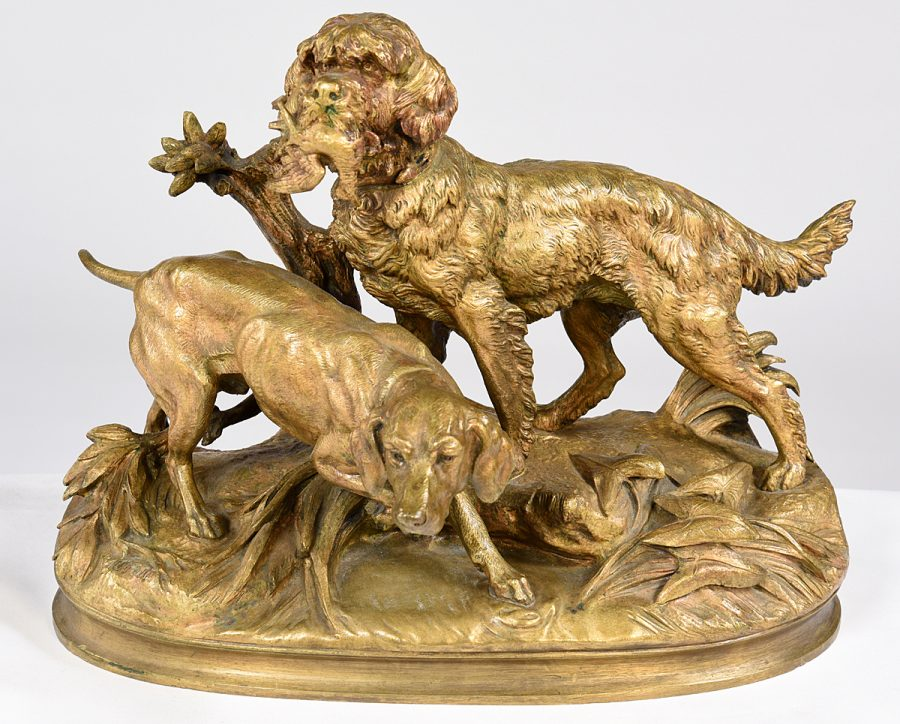 Pair of Gilt Bronze Hunting Dogs