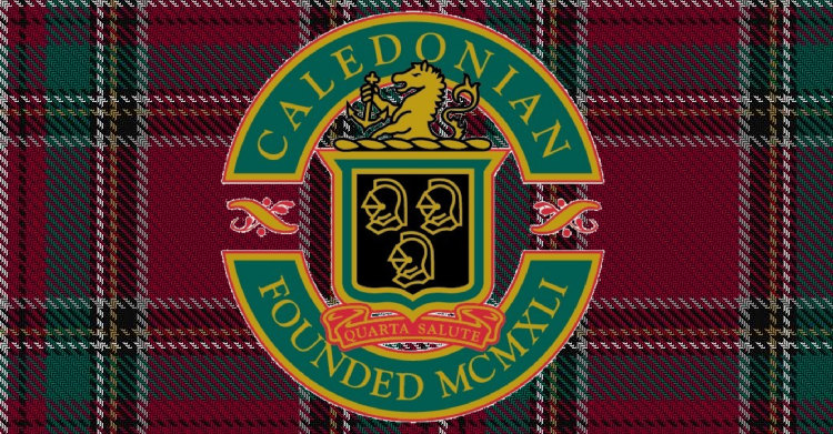 Caledonian English Antiques logo on pattern background