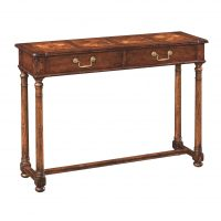 Reproduction English Walnut Side Table with Oyster Inlaid Top