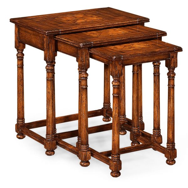 Reproduction Nest of 3 Oyster Wood Topped Tables