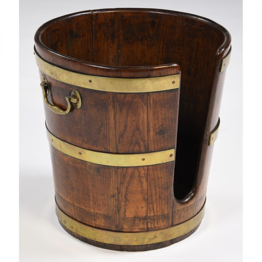 Antique English Elm Wood Plate Bucket