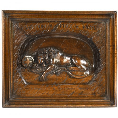 Antique Swiss Carved Wall Plaque