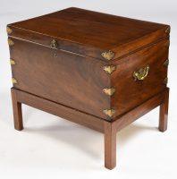 Antique English Mahogany Box On Stand