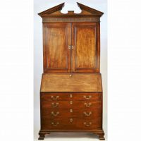 Antique English Chippendale Mahogany Bureau Cabinet
